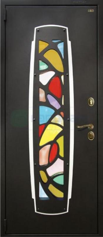 Входные двери с витражом Маска
