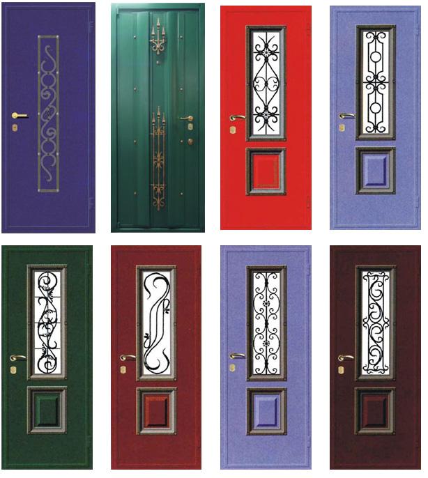 кованные элементы на входные двери со стеклопакетом